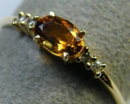 CITRINE , DIAMONDS  14 K  FIGERINE RING SIZE 7.5  MY 908