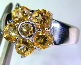 CITRINE -SILVER RING  28.40 CTS SIZE 7.5 SJ581