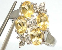 CITRINE  SILVER RING   23.10 CTS  SIZE-7 RJ-220