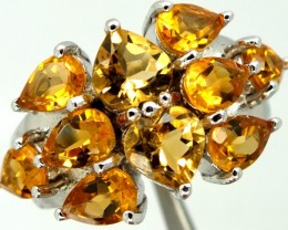 CITRINE  SILVER RING 33.15 CTS  SIZE-7.5    RJ-264