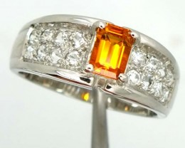 CITRINE SILVER RING 24.80  CTS  SIZE-8 RJ-300