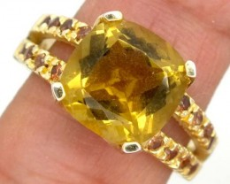 29.59 CTS CITRINE  SILVER RING   SIZE-  9.50  RJ-330