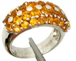 CITRINE SILVER RING   35.95 CTS  SIZE- 6.25   RJ-358