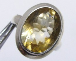 FACETED OVAL CITRINE  RING SIZE  9.5   MJA 333