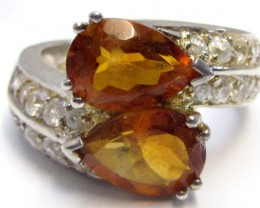 Bright Citrine set in silver ring size  8  MJA 788