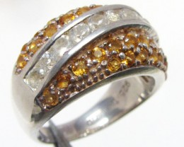 Bright Citrine set in silver ring size  7  MJA 794