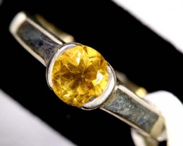 CITRINE SOLITAIRE SILVER RING 24 CTS SIZE -7 TBJ-607