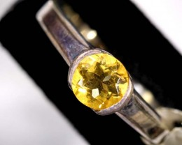 CITRINE SOLITAIRE SILVER RING 24 CTS SIZE-6.5  TBJ-609