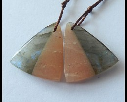 17ct Natural Sunstone,Labradorite Intarsia Earring Beads