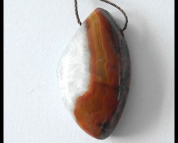 30Ct Natural Zhangguo Red Agate Gemstone Pendant Bead
