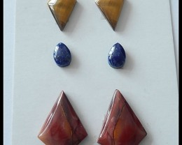 Mookaite Jasper,Lapis ,Tiger Eye Cabochons Set,23.15ct