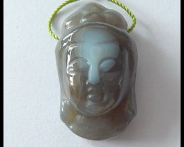 47Ct Buddha Head Pendant Natural Agate Bead