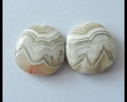 17.5ct Carzy Lace Agate Cabochon PAIR,15X14X4MM (C0016)