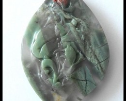 Flower Carving Bloodstone Cabochon,42.65ct
