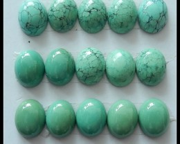 15 PCS Oval Turquoise Cabochons,46.9ct,Gorgeous!
