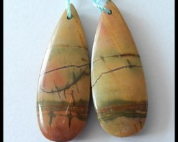 33.5Ct Multi Color Picasso JASPER Earring Beads