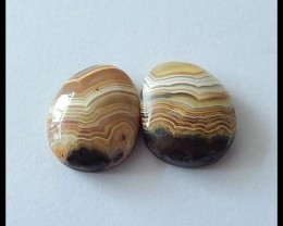 13.5ct Natural Crazy Lace Agate Cabochon Pair