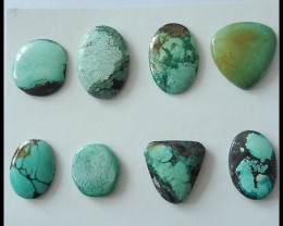 8 PCS Turquoise Gemstone Cabochons Parcel,95.5ct