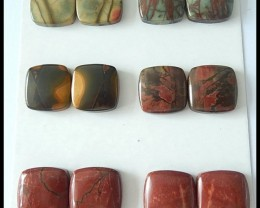 148.5ct Natural Multi Color Picasso Jasper Cabochons Pair,6 pairs