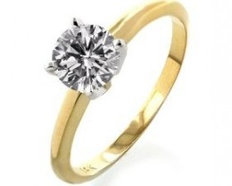 NATURAL-CERTFIED-SOLITIARE-14K- YELLOW  GOLD DIAMOND RING-
