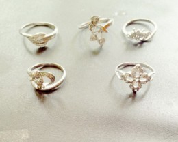 NATURAL-WHITEGOLDPLATED -DIAMONDRINGS  -5PCS, NR , LOWEST WHOLESALE PRICES