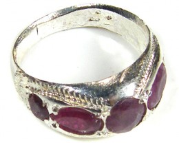 TRIBAL MULTI RUBY  TIBETAN SILVER RING SIZE  7  TR580