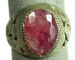 OLD TRIBAL   TIBETAN RUBY SILVER RING SIZE  9.5  TR594
