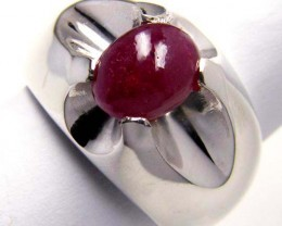 MODERN RUBY STERLING SILVER RING SIZE   8   GTJA 101