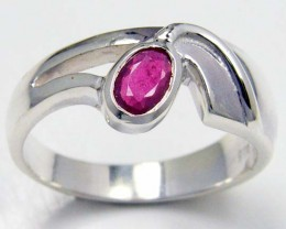 MODERN RUBY STERLING SILVER RING SIZE  8.5    GTJA 104
