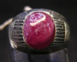 NATURAL  RUBY IN TIBETAN  RING  SIZE  9  11 098