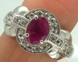 RUBY  SILVER RING 17  CTS  SIZE-7.5    RJ-72