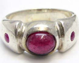 Ruby in silver Ring Size 8   MJA 815