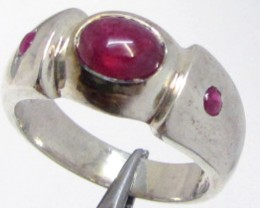 Ruby in silver Ring Size 9   MJA 816