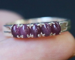Natural  Red Ruby in Silver Ring Size 7.25  BU1510
