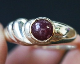 Natural  Red Ruby in Silver Ring Size 6.5 BU1511