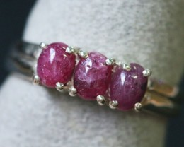 Natural  Red Ruby in Silver Ring Size 7 BU1514