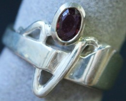 Natural  Red Ruby in Silver Ring Size 7 BU1503