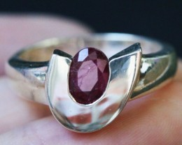 Natural  Red Ruby in Silver Ring Size 7.5  BU1509