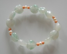 VERY NICE NATURAL JADE ,CORAL and PEARLS BRACELET