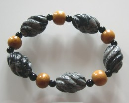 VERY NICE NATURAL SNOW FLAKES JASPER AND ONYX BRACELET