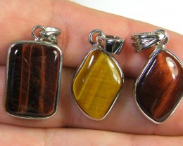 THREE TIGER EYE  PENDANTS   AAA 2724