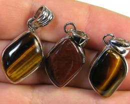 THREE TIGER EYE  PENDANTS   AAA 2730