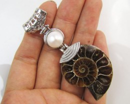 85 Cts AMMONITE PENDANT  WITH NICE PEARL  MJA 1107