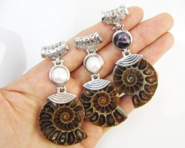 280 Cts PARCEL DEAL THREE  AMMONITE PENDANTS MJA 1115