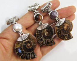 285 Cts PARCEL DEAL THREE  AMMONITE PENDANTS MJA 1116