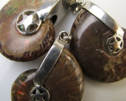 215 Cts PARCEL DEAL THREE  AMMONITE PENDANTS MJA 1117