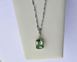 14k Gold Green Tourmaline and Diamond Pendant