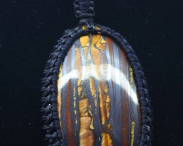 MACRAME PENDANT Handmade Handcrafted Natural Tiger Eye Cabochon Gemstone