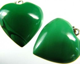 MALACHITE HEART PENDANT PAIR 40 CTS [SJ2865]
