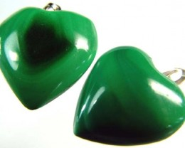 MALACHITE HEART PENDANT PAIR 25.5 CTS [SJ2866]